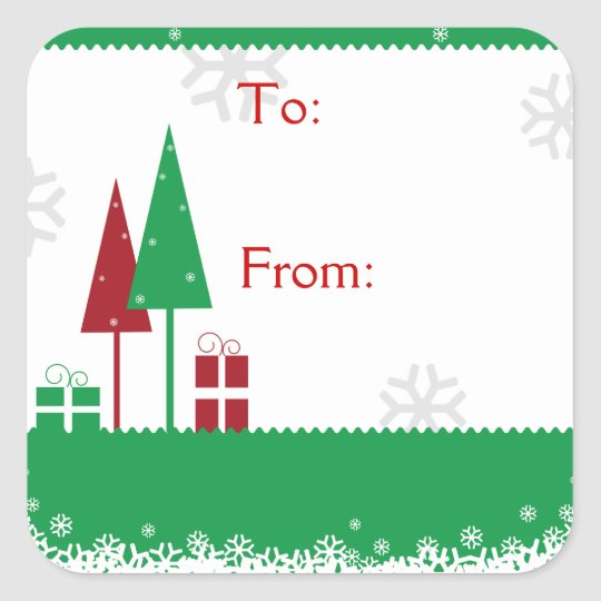 Christmas Trees Green Square Sticker