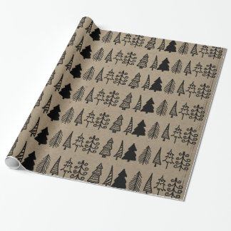 Christmas Trees Holiday Faux Kraft Paper Pattern