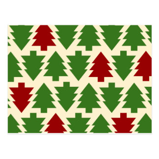 Christmas Trees Holiday Pattern Postcard