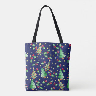 Christmas Trees Holly Holiday Pattern Tote Bag