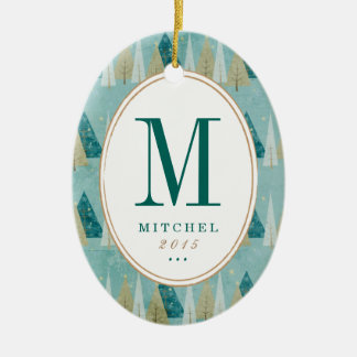 Christmas Trees Monogram Photo Ornament