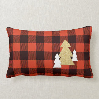 Christmas Trees on Red Plaid Lumbar Throw Pillow
