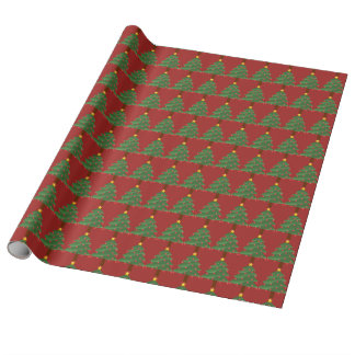 Christmas Trees on Red Wrapping Paper