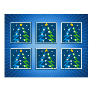 Christmas Trees Pattern   Blue Postcard