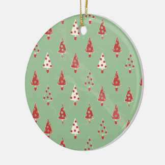 Christmas Trees Pattern Ceramic Ornament