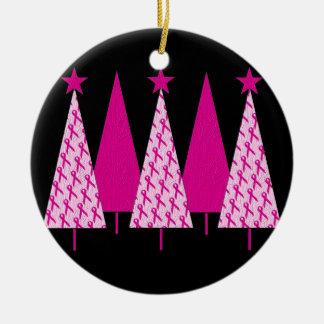 Christmas Trees - Pink Ribbon Christmas Ornaments