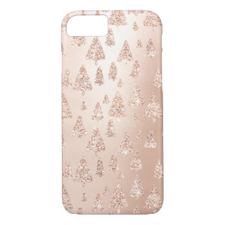 Christmas Trees Pink Rose Gold Blush Girly Sparkly iPhone 8/7 Case