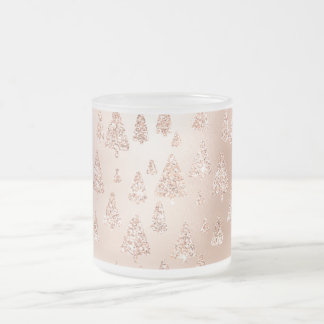 Christmas Trees Pink Rose Gold Blush Powder Glam Frosted Glass Coffee Mug