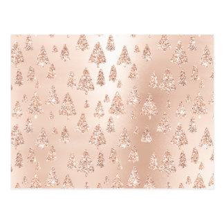 Christmas Trees Pink Rose Gold Blush Powder Glam Postcard