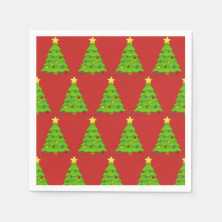 Christmas trees red cocktail napkins paper napkin