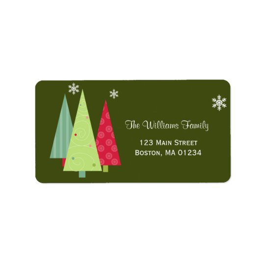 Christmas Trees Return Address Label