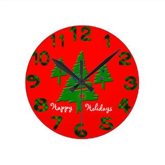 Christmas Trees Round Clock