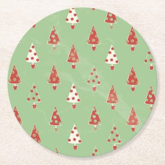 Christmas Trees Round Paper Coaster