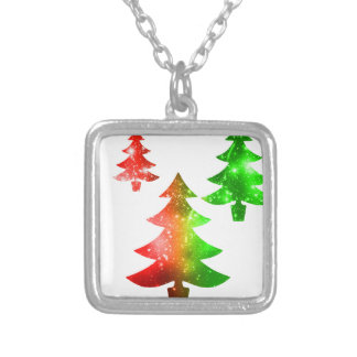 Christmas Trees Silver Plated Necklace