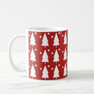 Christmas Trees & Stars | Red Coffee Mug