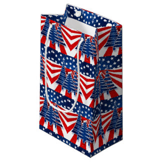 Christmas Trees with Stars and Stripes Small Gift Bag