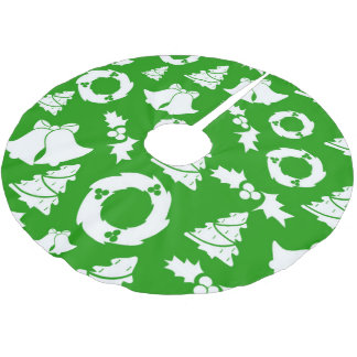 Christmas Trees Wreath Holly Bells Brushed Polyester Tree Skirt