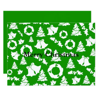 Christmas Trees Wreath Holly Bells Card