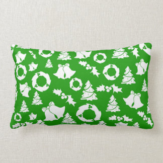 Christmas Trees Wreath Holly Bells Lumbar Pillow