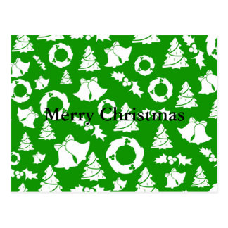 Christmas Trees Wreath Holly Bells Postcard