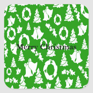 Christmas Trees Wreath Holly Bells Square Sticker
