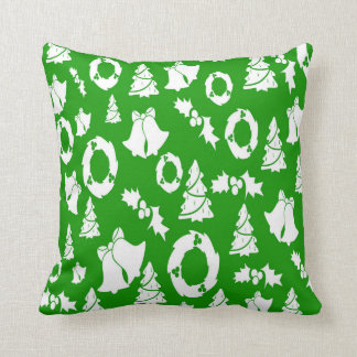 Christmas Trees Wreath Holly Bells Throw Pillow