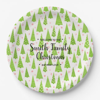 Christmas Tree's, your Family Named Christmas Paper Plate
