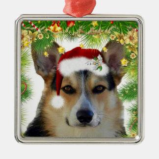Christmas Tricolor Corgi Metal Ornament