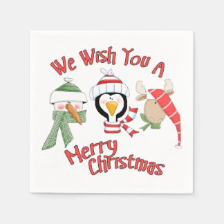 Christmas Trio Animal Wishes Paper Napkin