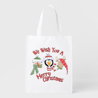 Christmas Trio Animal Wishes Reusable Grocery Bag
