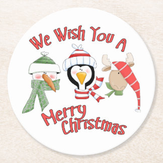 Christmas Trio Animal Wishes Round Paper Coaster