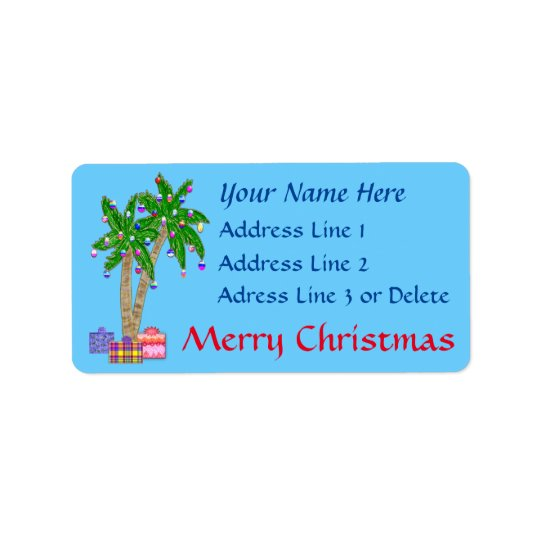 Christmas Tropical Address Labels with YOUR TEXT