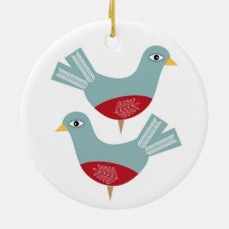 Christmas Turtle Dove Ceramic Ornament