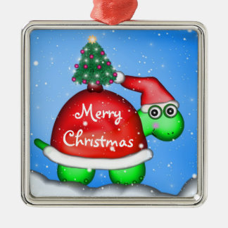 Christmas Turtle Metal Ornament