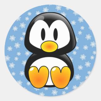Christmas Tux Penguin Classic Round Sticker