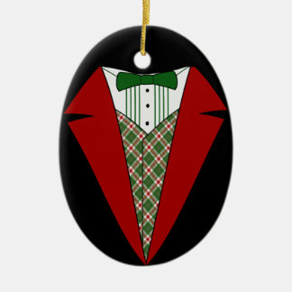 Christmas Tuxedo, Red and Green Elf Ceramic Oval Ornament