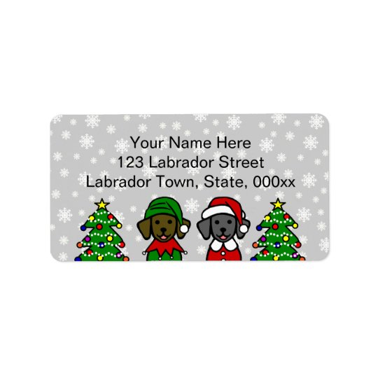 Christmas Twin Lab Puppies Label
