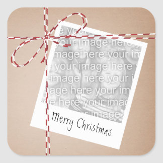 Christmas Twine Package Photo Square Sticker