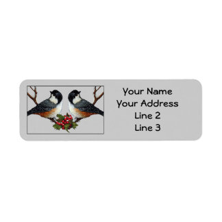 Christmas: Two Chickadee Birds: Snow, Holly: Art Return Address Label
