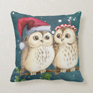 Christmas Two Owls Santa Hat Watercolor Throw Pillow