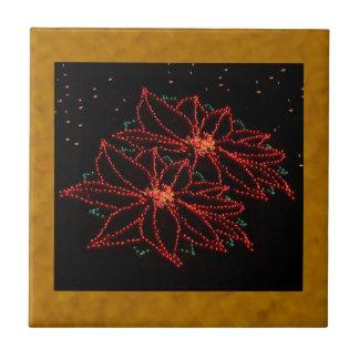 Christmas Two Poinsettias 2016 Ceramic Tiles
