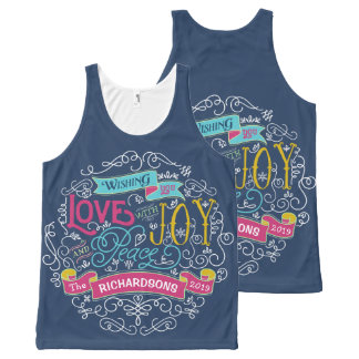 Christmas Typography Love Joy Peace Custom Banner All-Over-Print Tank Top