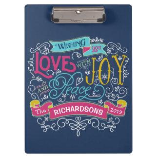 Christmas Typography Love Joy Peace Custom Banner Clipboard