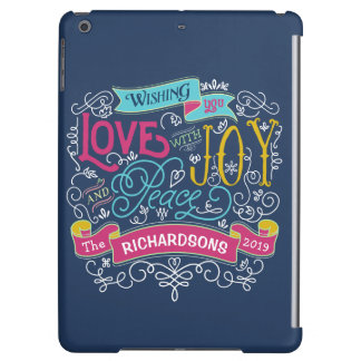 Christmas Typography Love Joy Peace Custom Banner iPad Air Covers