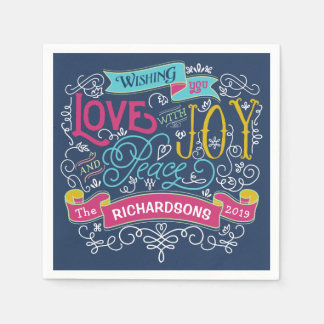 Christmas Typography Love Joy Peace Custom Banner Paper Napkins