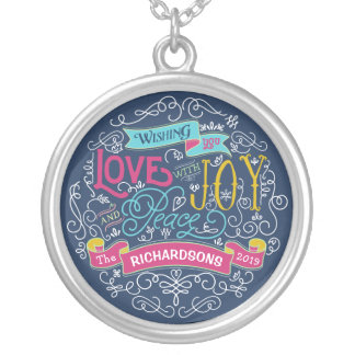 Christmas Typography Love Joy Peace Custom Banner Silver Plated Necklace
