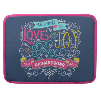 Christmas Typography Love Joy Peace Custom Banner Sleeve For MacBook Pro