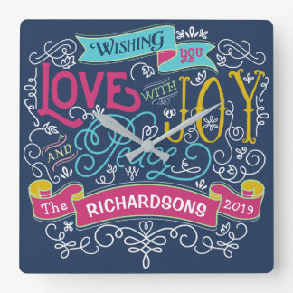 Christmas Typography Love Joy Peace Custom Banner Square Wall Clock
