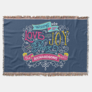 Christmas Typography Love Joy Peace Custom Banner Throw Blanket