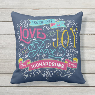 Christmas Typography Love Joy Peace Custom Banner Throw Pillow